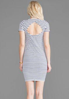 MONROW Stripe Cross Over Back Dress in White - New