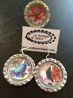 orecchini anello tappo a corona carta multicolor