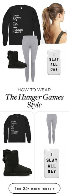 """Calm Down BOYS It's Just P.E."" by maya-rose16 on Polyvore featuring Topshop, UGG Australia and France Luxe"