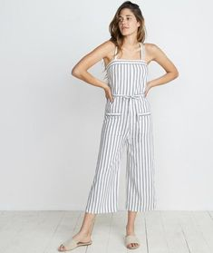 Juliette Jumpsuit in Ivory/Charcoal Stripe – Marine Layer