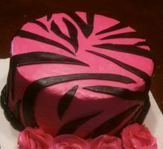 Pink and zebra cake. Buttercream with fondant accents.
