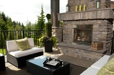 Outdoor fireplace, how do they keep this so clean? Deck Fireplace, Backyard, Patio, Outdoor Living, Outdoor Decor, My Dream Home, Custom Homes, Outdoor Gardens, Sweet Home