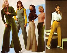 Slacks in the 1970s basically formed a triangle.  Massively flared at the bottom and as form-fitting as can be from the waist to the upper thigh.  As Robin Williams once said, the pants were so tight you could tell what religion he is.  Yet, as they passed the knee, they became umbrellas.