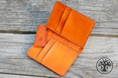 Leather handmade bifold wallet, Natural leather card holder, Slim wallet, Men women wallet, Minimal slim wallet, personalized unique gift