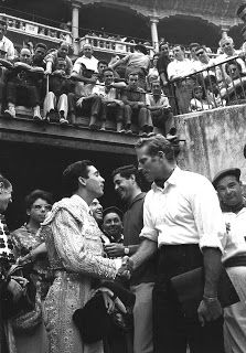 Spain. Charlton Heston at the bullring in San Fermin Festival, Pamplona, 1962