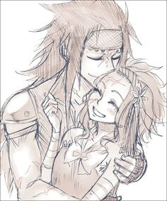 He's totally whispering something naughty in her ear. Gajeel x Levy. Fairy tail.