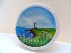 Miniature art on Scottish sea pottery - Lighthouse landscape - original acrylic painting