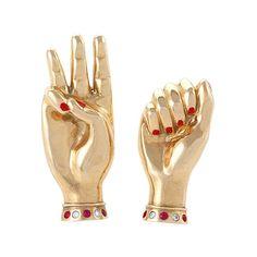 Paul Flato Retro Gold Sign Language Brooch