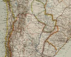 1890 Antique map of SOUTH AMERICA: Argentina, Bolivia, Paraguay, Uruguay, Chile, Brasil. 127 years old chart