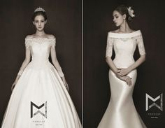Left or right? These timeless off-the-shoulder wedding dresses by Monguae are downright droolworthy!