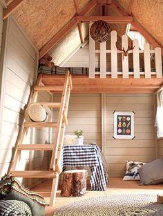 Children wooden house with carport Bavaria, interior and mansard roof camita. Kids Cubby Houses, Play Houses, Cob Houses, Kids Shed, Playhouse Interior, Playhouse Decor, Ideas Cabaña, Casas Club, Tree House Interior