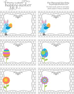 Easter party labels--use for placecards, food/candy buffet tables, gift tags