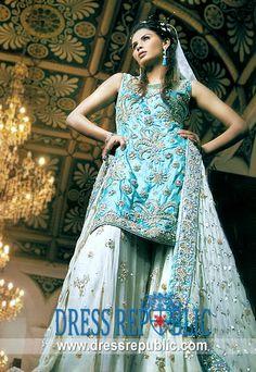 Blue Topaz Kaith, Product code: DR2081, by www.dressrepublic.com - Keywords: Bridal Lehenga for Reception, Lehanga for Reception, Reception Bridal Lhenga 2011 Collection