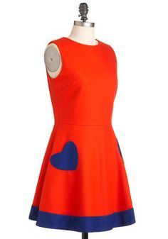 Heart of the Chatter Dress in Red-Orange, #ModCloth
