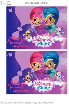 Thank You For Coming I Party Free Printables Themes Crafty Annabelle Shimmer Shine