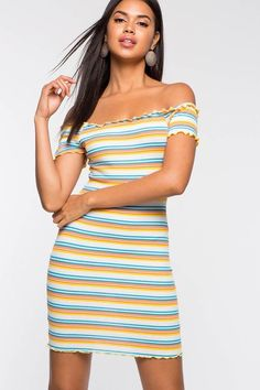 0f07edcc5cfa Urban Outfitters Uo Off-The-Shoulder Striped Bodycon Dress - Yellow ...