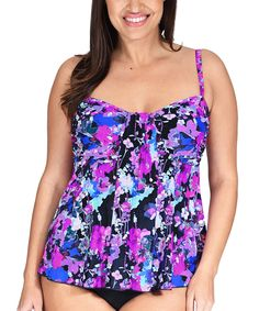 fc721cb795cde Take a look at this Purple   Black Floral Drape Bandeau Tankini Top - Plus  today