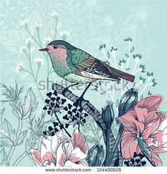 vector illustration of a little bird and blooming flowers - stock vector