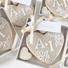 Champagne lustre lace monogram heart cookie wedding favours