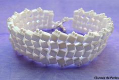 White herringbone seed beads bracelet in Miyuki by OeuvresdePerles