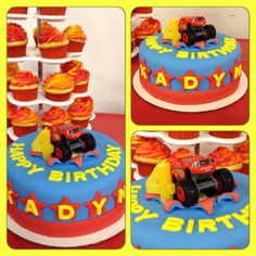"""Blaze and the monster machines cake with """"blaze"""" flame cupcakes."""