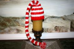 Santa Hat 14 inch Red and white candy cane baby elf hat by SweetTsShoppe, $14.95