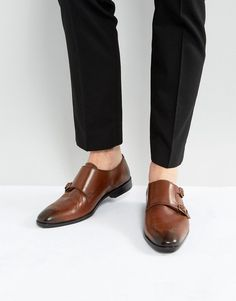 ASOS Monk Shoes In Tan Leather With Brogue Detail