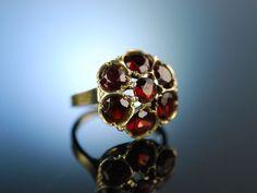 München um 1900! Historischer Granat Ring Silber vergoldet, schön zu Tracht und Dirndl, Antique garnet ring, Granat Schmuck bei Die Halsbandaffaire