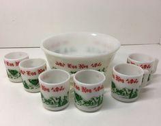 7pc Vintage Anchor Hocking Anchorglass Set Egg Nog Punch Bowl w/6 Cups Christmas