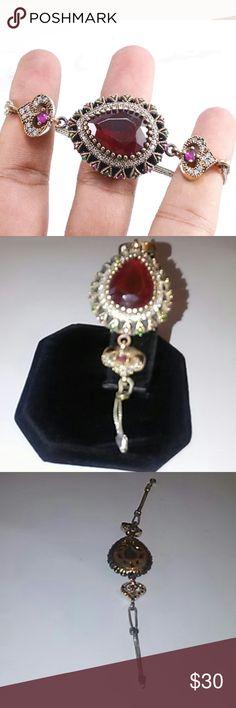 Turkish ruby topaz emerald bracelet. New no tag.925 sterling silver. Bronze Sz 7 inch. Jewelry Bracelets