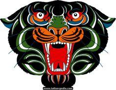 Black ink tiger or panther head tattoo design