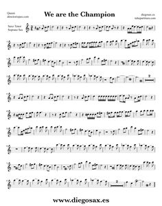 Partitura de We are the Champions para Saxofón Tenor Queen  Sheet Music Tenor Saxophone Music Score We are the Champions