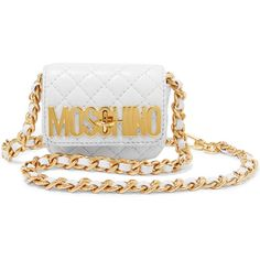 Moschino - Quilted Leather Belt Bag ($322) ❤ liked on Polyvore featuring bags, white, moschino bags, moschino, white bag and quilted leather bag