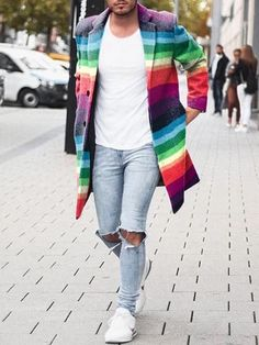 10% Discount🌈 for Any 3 Items 1st Order 💥Get 8% Off FREE SHIPPING🚀 OVER $69+ Next Shoes, Long Overcoat, Long Winter Coats, Rainbow Print, Shoe Boots, Shop Now, Slim, Mens Fashion, Free Shipping