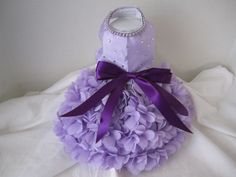"Dog Dress  XS Lavender Hearts   with Swarovski Crystals  By Nina's Couture Closet ""Exclusive  Line Bella "". $90.00, via Etsy."