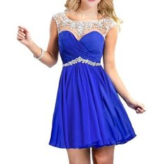 NEW short blue rhinestone dress perfect for prom, homecoming, sweet 16, or just a party dress. It has an open back, bra padding, and a rhinestone neckline I ALSO HAVE A RED ONE Dresses Prom