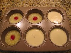 Mini Pineapple Upside Down Cakes. Batter: 2 eggs, 4 Tbsp pineapple juice, 2/3 C sugar, 2/3 C flour 1 tsp baking soda, 1/4 tsp salt. Glaze: 1/4 C butter, 2/3 C brown sugar. Heat on med. pour glaze in muffin tin. Put in pineapple ring and maraschino cherry. (While ring will fir in jumbo muffin tin. For regular muffin size cut a piece put or use pineapple tidbits) Then pour in batter. Bake at 350 for 25 min (jumbo muffins) or 20 min (regular muffins). Makes 6 jumbo or 8 regular.