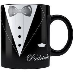 Caneca Personalizada Casamento Padrinho 03 Alça Preta