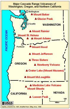 Major Cascade Range Volcanoes Of Washington Oregon And Northern California