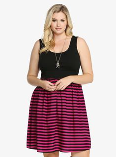 Plus Size Striped Sundress