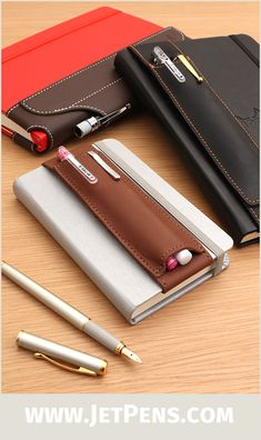 The Quiver Pen Holders are made of genuine leather and durable elastic and conveniently hold your favorite pens.