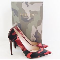 Valentino Camo Rockstud pump Gorgeous valentinos with a fun twist! Red camo, with a rockstud in the back. Good condition, worn a few times. Comes with box, dust bag, and care/authentication card. Open to offers, no trades! Valentino Shoes