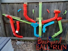 39 Coolest Kids Toys You Can Make Yourself I like this idea for a backyard ball run Kids Outdoor Play, Outdoor Play Spaces, Outdoor Fun, Outdoor Toys, Outdoor Learning, Outdoor Ideas, Backyard Playground, Playground Ideas, Backyard Kids