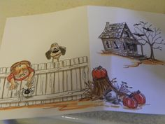 Billy & Scruffy dog front and back, cute spider, big fence, stump, pumpkin, old shack, bats and bare tree. Copic markers used.   sold separately made by Art Impressions Rubber Stamps, items can be purchased in my ebay Store Pat's Rubber Stamps & Scrapbooks or call me 423-357-4334and place an order, or come by 1327 Glenmar Ave. Mt Carmel, TN 37645, Pat's Rubber Stamps & Scrapbook supplies 423-357-4334. We take PayPal & We take phone orders. You get free shipping with the phone orders.
