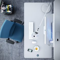 Gorgeous Office Workspaces Arrangement for Simple Room: Rectangular Table With Blue Office Chair For Luxurious Workspace Design Ideas Industrial Office Design, Modern Office Design, Office Interior Design, Home Office Decor, Office Interiors, Modern Offices, Office Designs, Office Ideas, Workspace Design