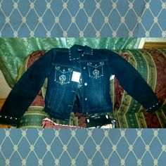 True Blue Sequined Cross Jacket NWT Ethyl Denim True Blue Sequined Jacket.   Sequined around cuffs & collar, sequin/threaded design on front pockets, and sequin/threaded cross design on back. Ethyl Denim Jackets & Coats Jean Jackets