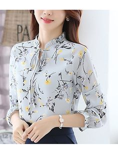 Buy Women's Blouse Flare Sleeve Floral Pattern Ruffled Collar Plus Size Top & Blouses - at Jolly Chic Dress Neck Designs, Designs For Dresses, Blouse Designs, Stylish Dresses, Fashion Dresses, Kurta Neck Design, Blouses For Women, Trendy Tops For Women, Designer Dresses