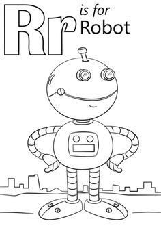Letter R is for Robot coloring page from Letter R category. Select from 26388 printable crafts of cartoons, nature, animals, Bible and many more.