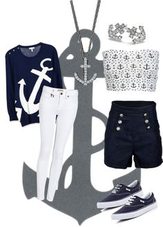 """Sailor/ Anchor Outfit"" by littlebeecampbell ❤ liked on Polyvore"