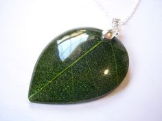 Beautiful Detailed Leaf Resin Pendant Sterling by CYDesignStudio, $20.00